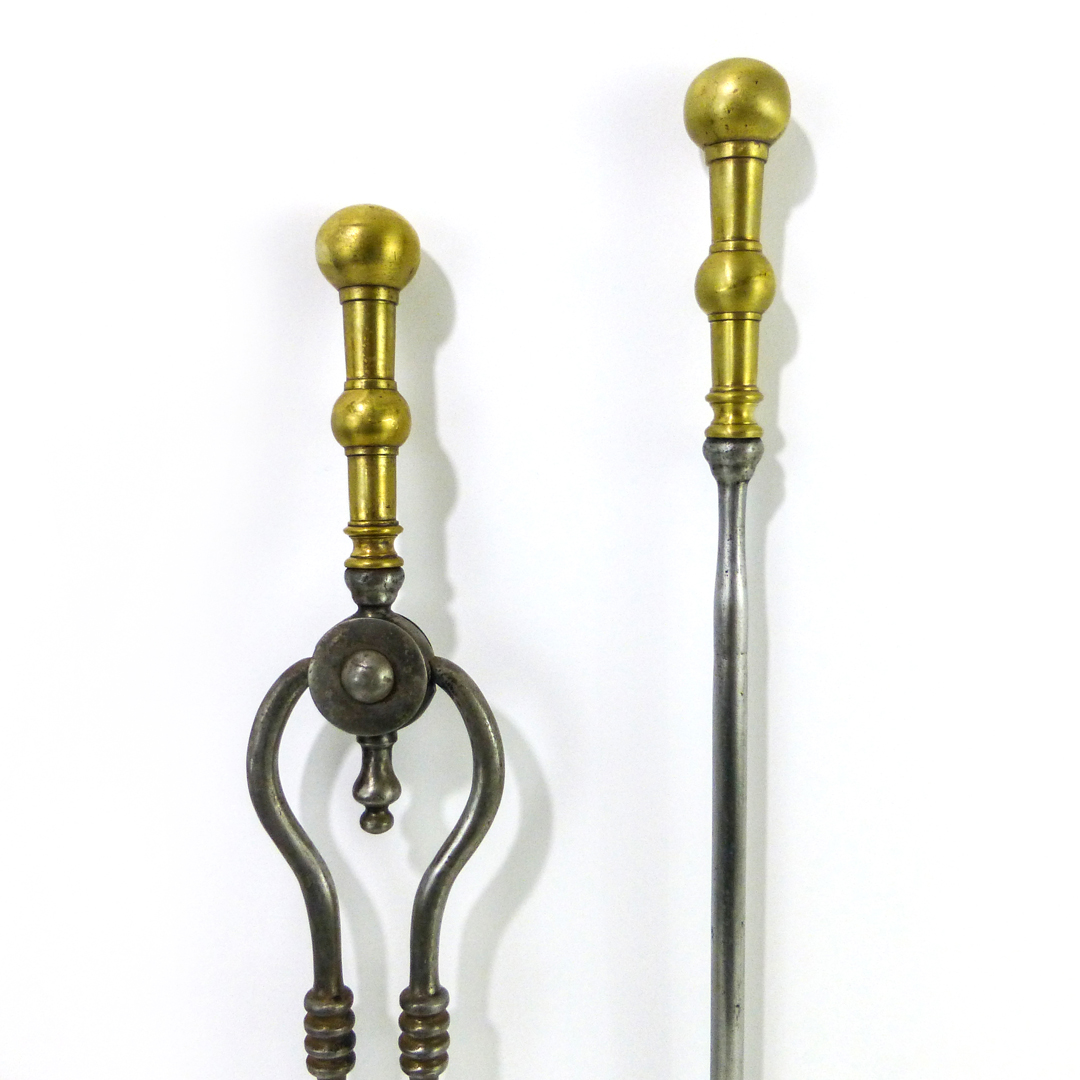 Pair of English Brass Topped Steel Fireplace Tools, Circa 1840