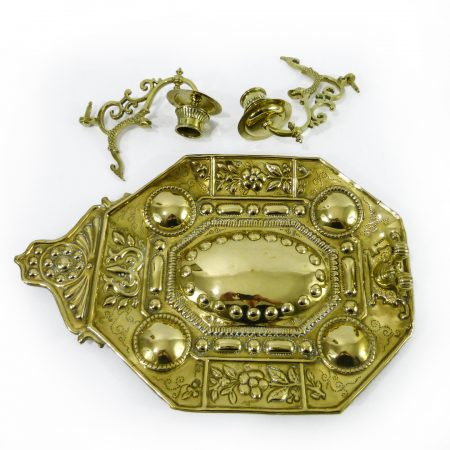 English Brass Sonce with Two Cast Arms with Fish, 1884