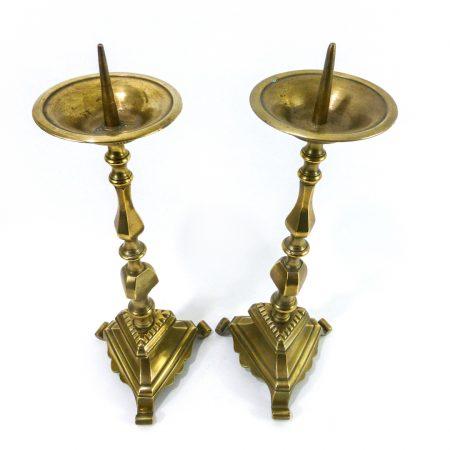 Pair of Bell Metal or Bronze Flemish Pricket Candlesticks, Circa 1800