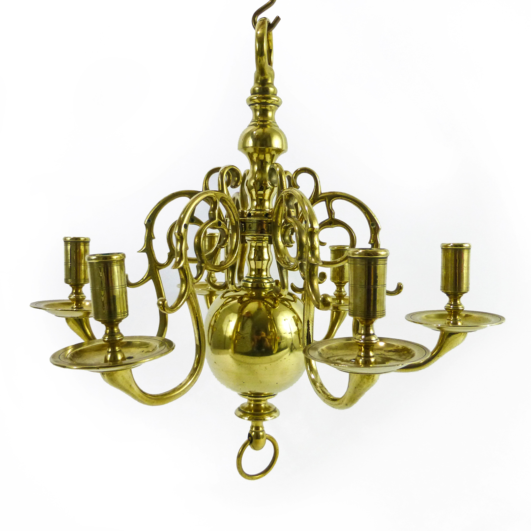 Rare Smaller Size Dutch Brass Chandelier