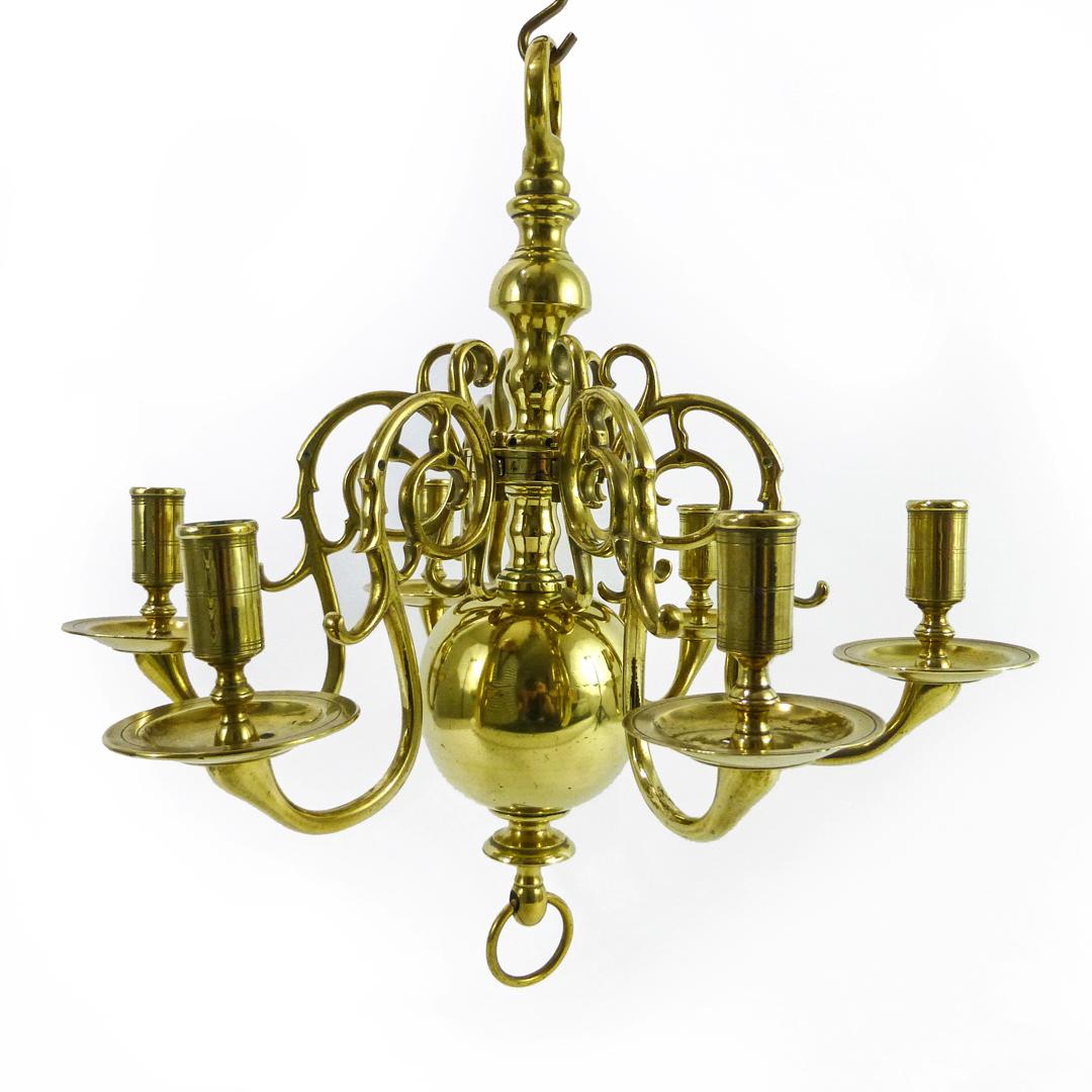 Rare Smaller Size Dutch Brass Chandelier