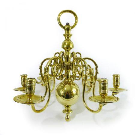 Swedish Brass 6 Arm Chandelier.