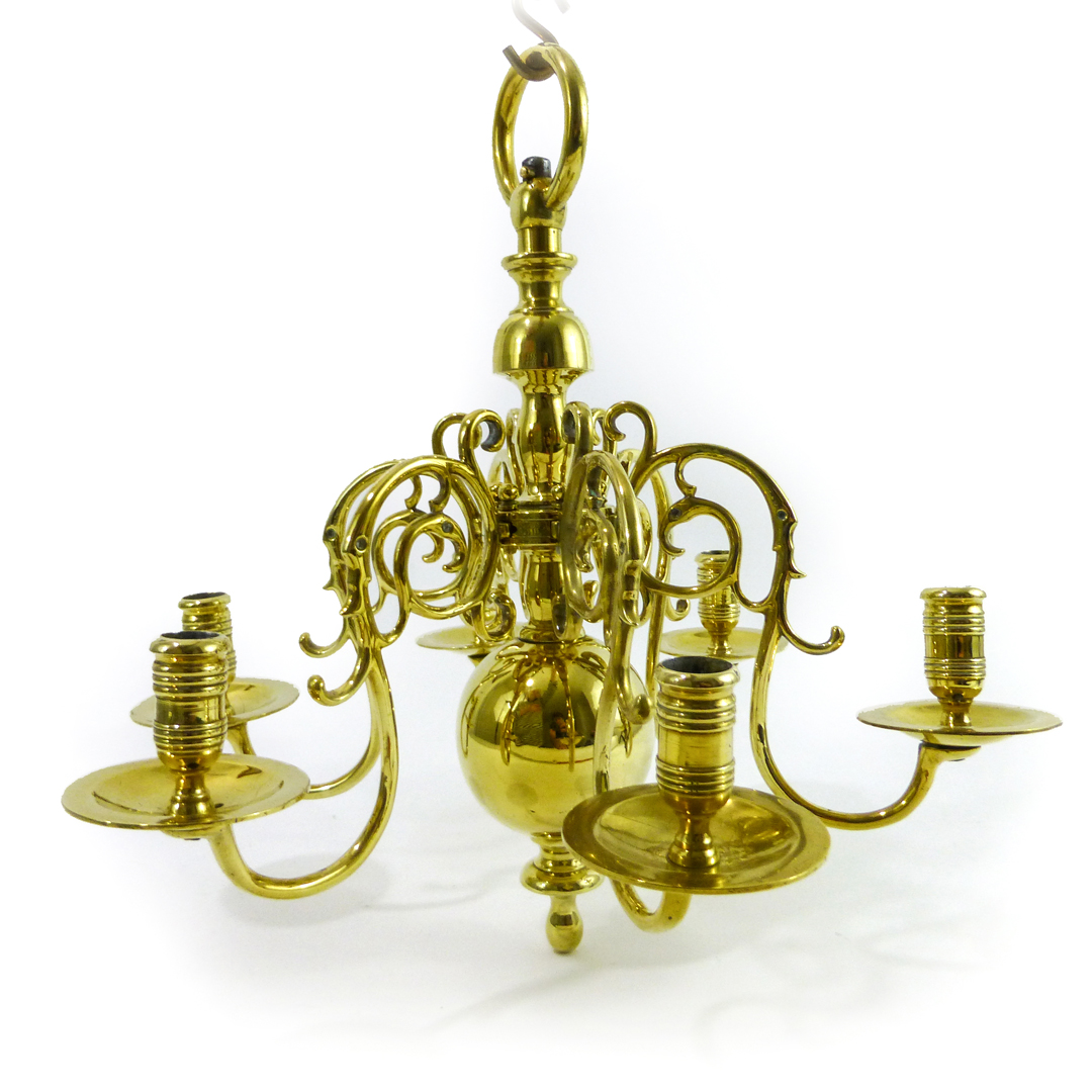 Swedish Brass 6 Arm Chandelier.