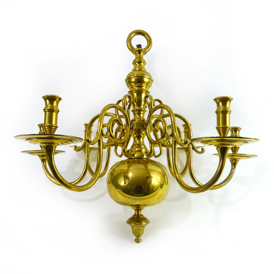 Dutch Brass 6 Arm Chandelier