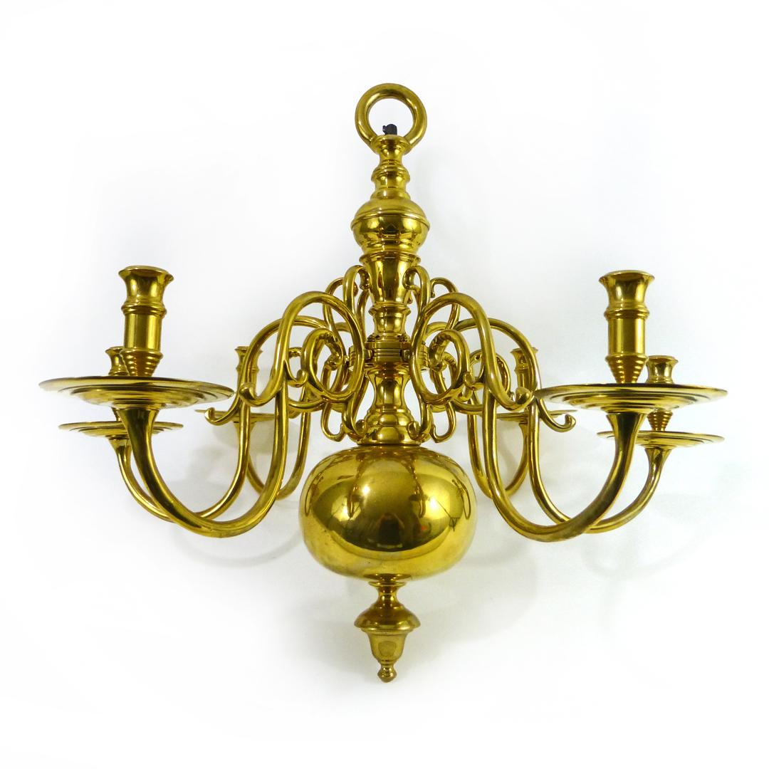 Dutch Brass 6 Arm Chandelier
