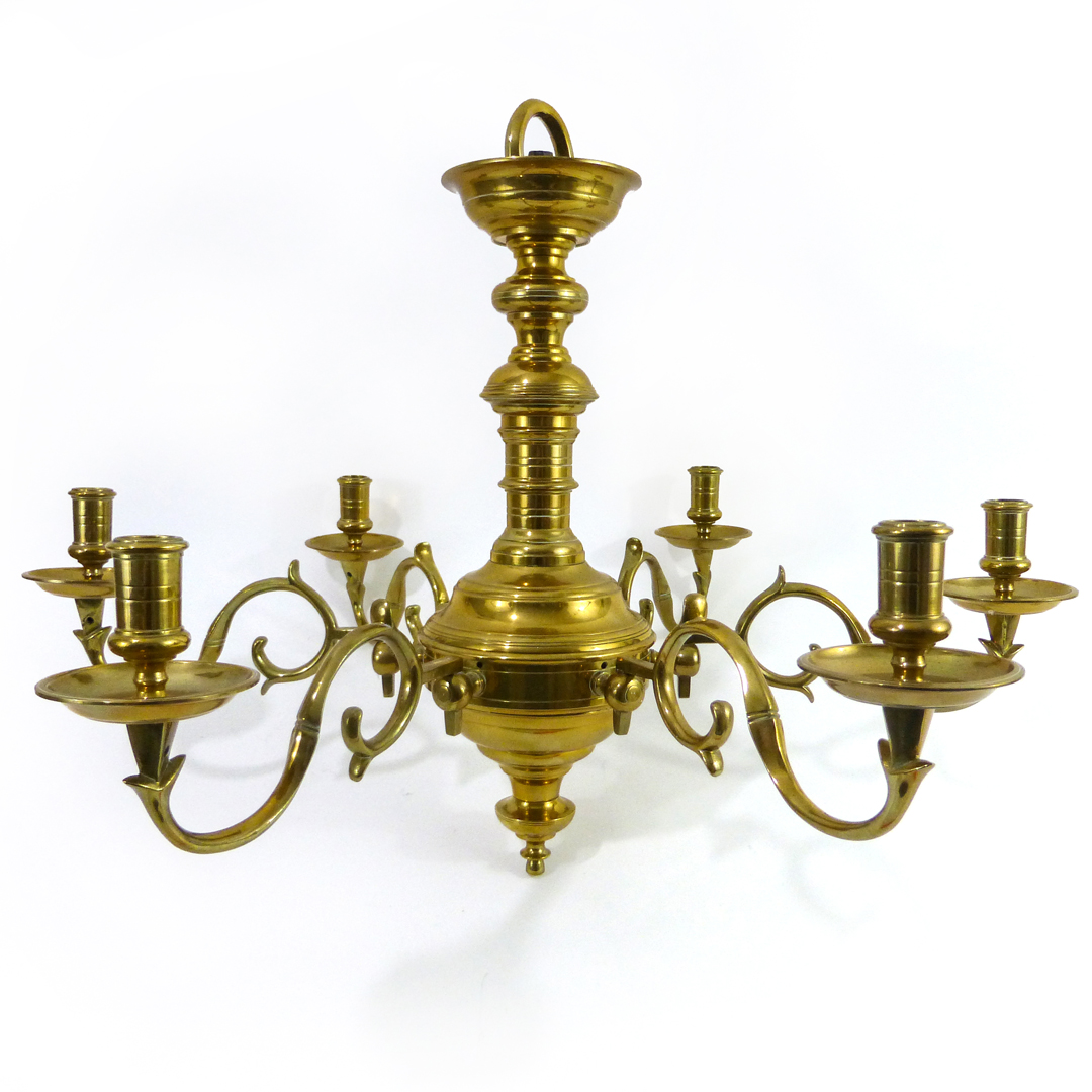 "Great ""Queen Anne"" English Brass Chandelier. Circa 1890"