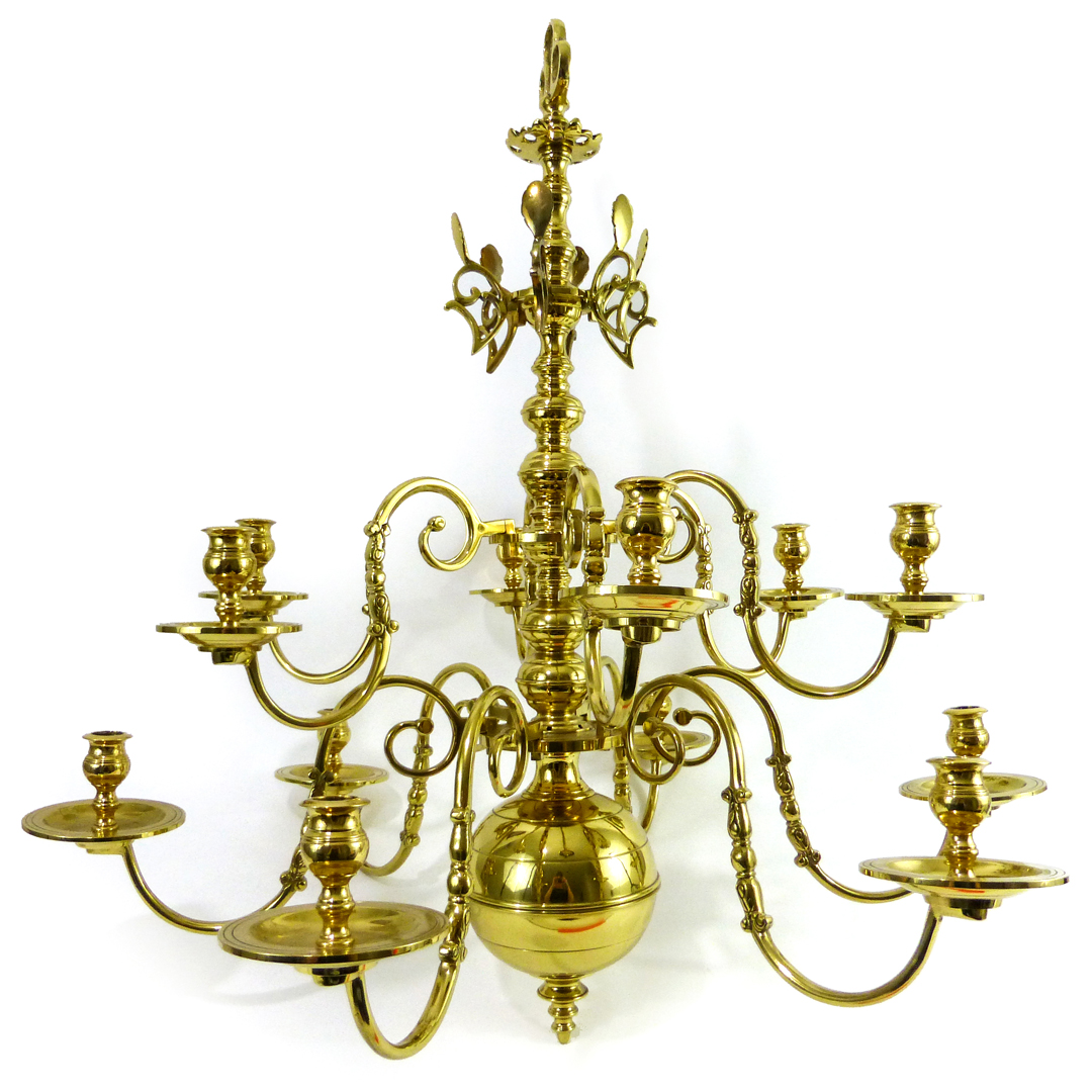 Fine 3 Tier Danish Brass Chandelier. Circa 1900
