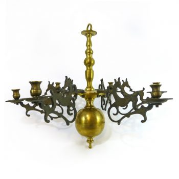 Eastern European Brass 6 arm chandelier with stag arms. Circa 1820