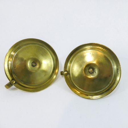 Rare Pair of Small Cast English Brass Chambersticks, Circa 1875