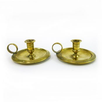 Rare Pair of Small Cast English Brass Chambersticks, Circa 1875