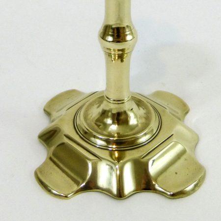 Single English Queen Anne Scalloped Base Candlestick. Circa 1740