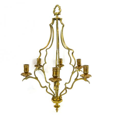 Brass French 6 arm Cage Chandelier. Circa 1900