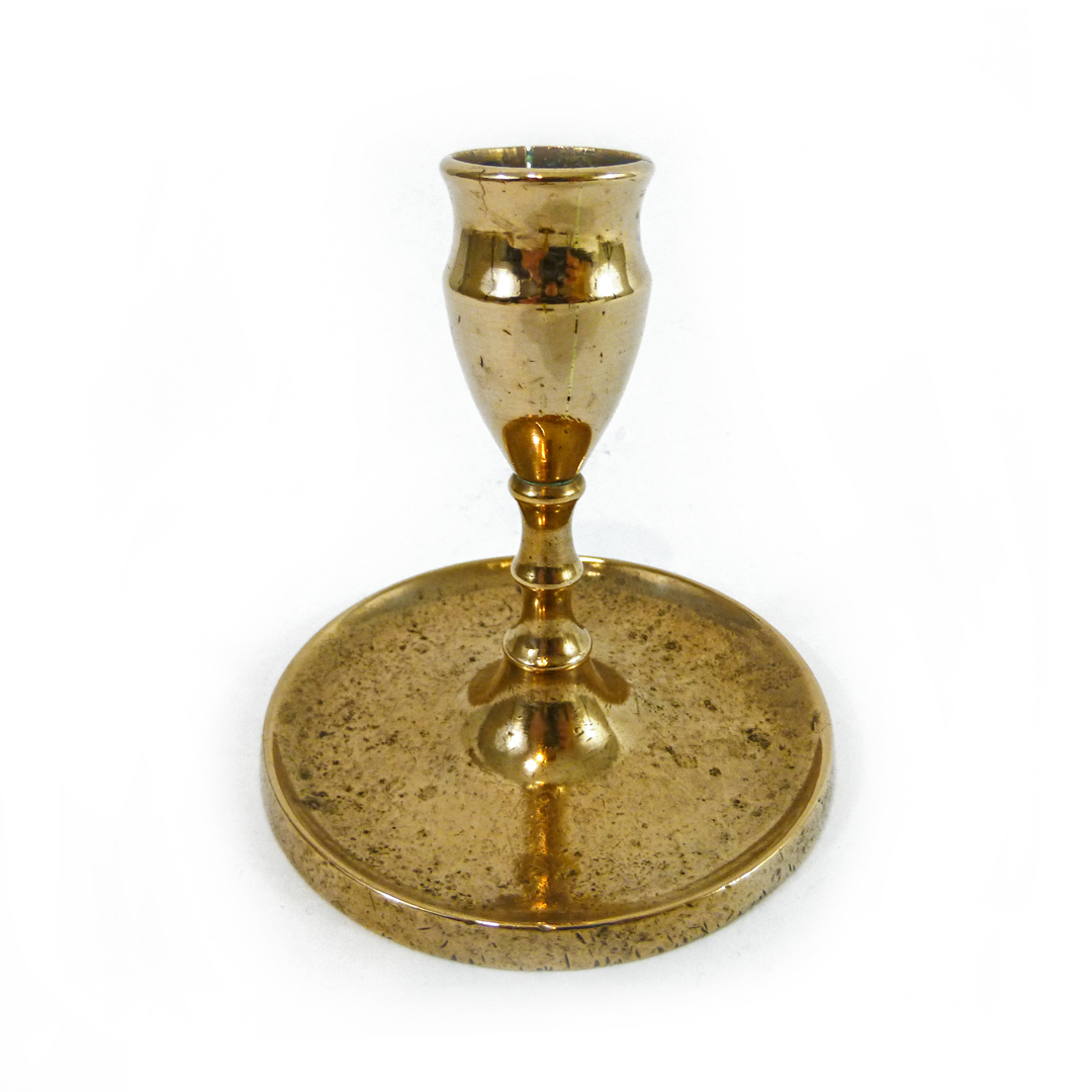 Spanish Colonial Single Bell Metal Candlestick. Circa 1780