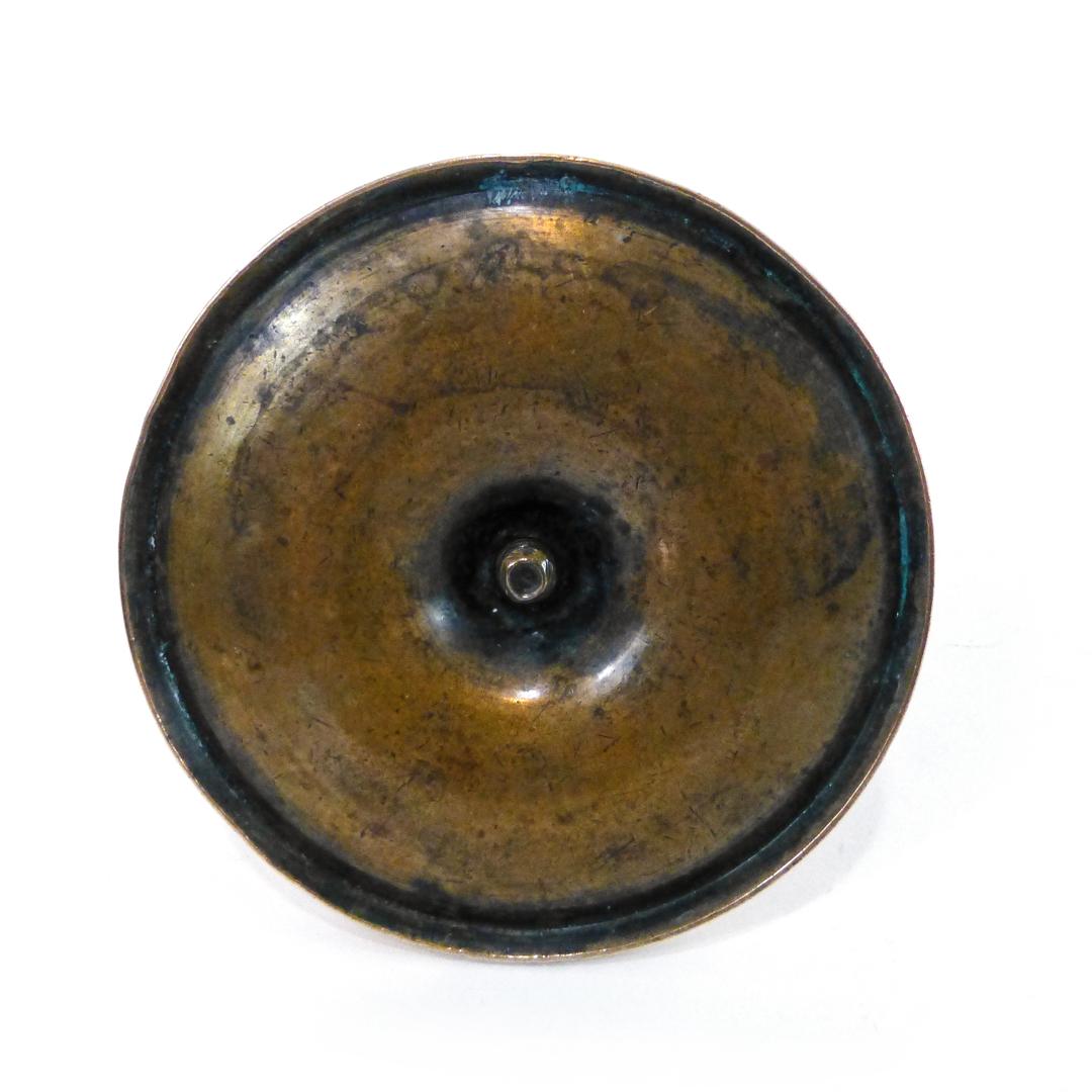 Spanish Colonial Single Bell Metal Candlestick. Circa 1780