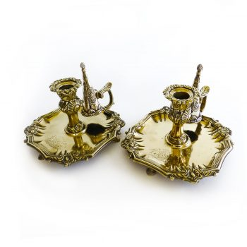 Pair of Silver Form Chambersticks in Brass, Circa 1800