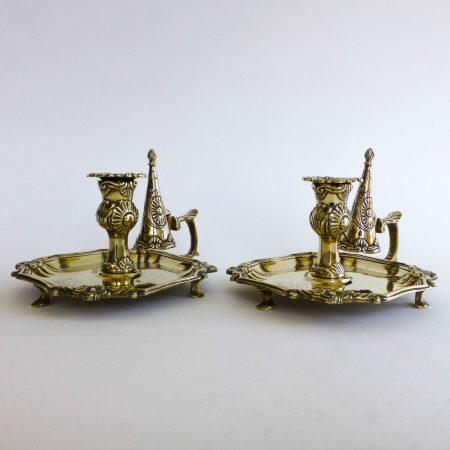 Pair of Silver Form Chambersticks in Brass, Circa 1800