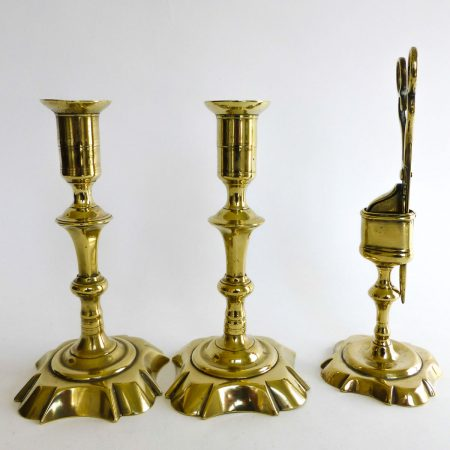 Pair of English Queen Anne Brass Candlesticks with Snuff & Stand Circa 1740