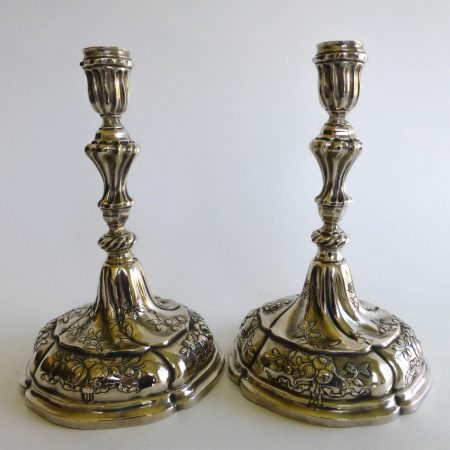 "Pair of German Silver Candlesticks, Marked ""Rosenberg"" 1757-1759"