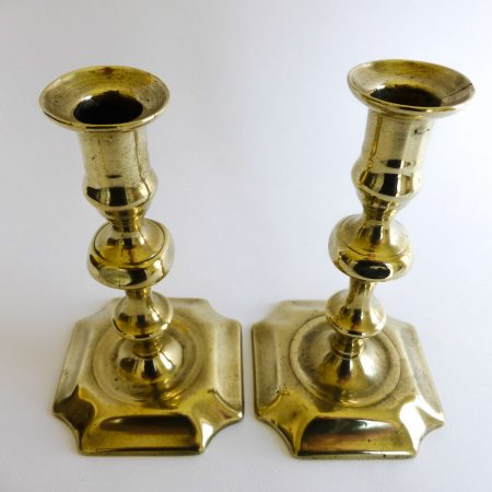 Pair of English Brass Queen Anne Candlesticks