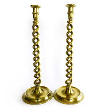 Pair of Brass English Double Twist Candlesticks Circa 1875