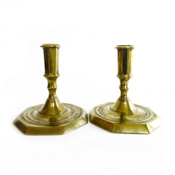 Pair of Rare Danish Late 17th Century Brass Candlesticks
