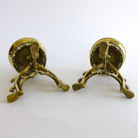 Pair of Brass English Gothic Pugin Candlesticks Circa 1850