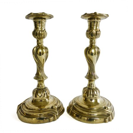 Pair of French Mid 18th Century Brass Rococo Candlesticks