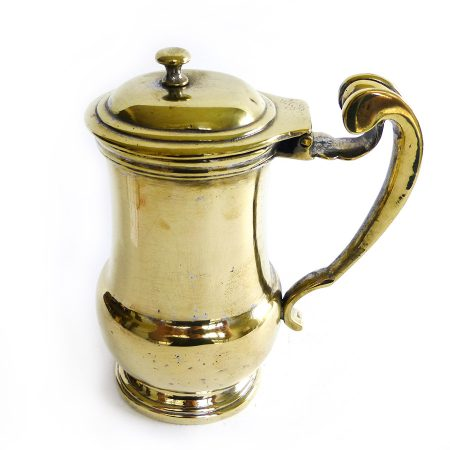 French Brass Silver Form Hot Water or Shaving Jug Circa 1725
