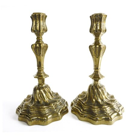 Great Pair of French 18th Century Brass Candlesticks Circa 1750