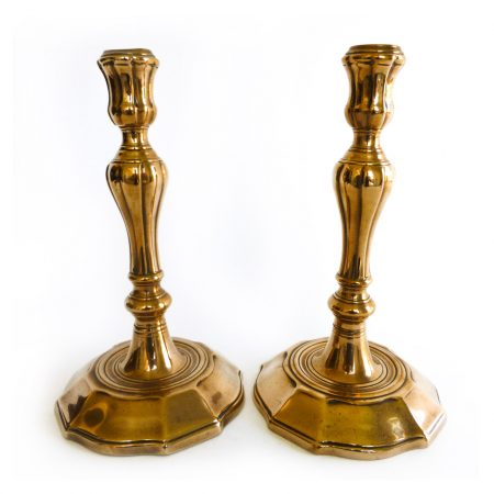 Very Rare Pair of Flemish Bell Metal Candlesticks. Circa 1740